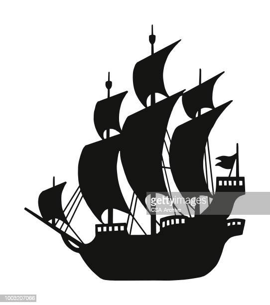 silhouette of a pirate ship - pirate boat stock illustrations, clip art, cartoons, & icons