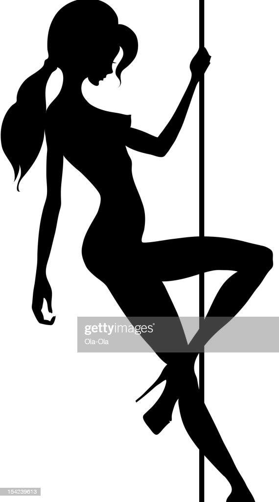 A silhouette of a pole dancer on a pole