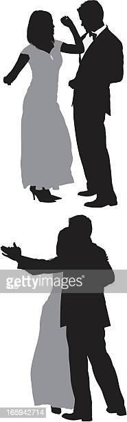 ilustraciones, imágenes clip art, dibujos animados e iconos de stock de silueta de pareja romántica baile - pareja bailando cuerpo entero