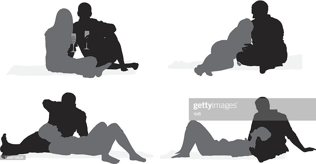 Silhouette of a romantic couple : stock illustration