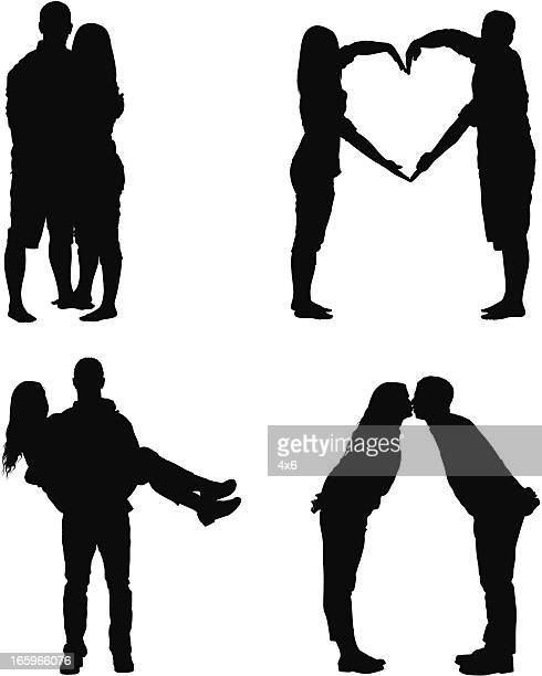 silhouette of a romantic couple - girlfriend stock illustrations, clip art, cartoons, & icons