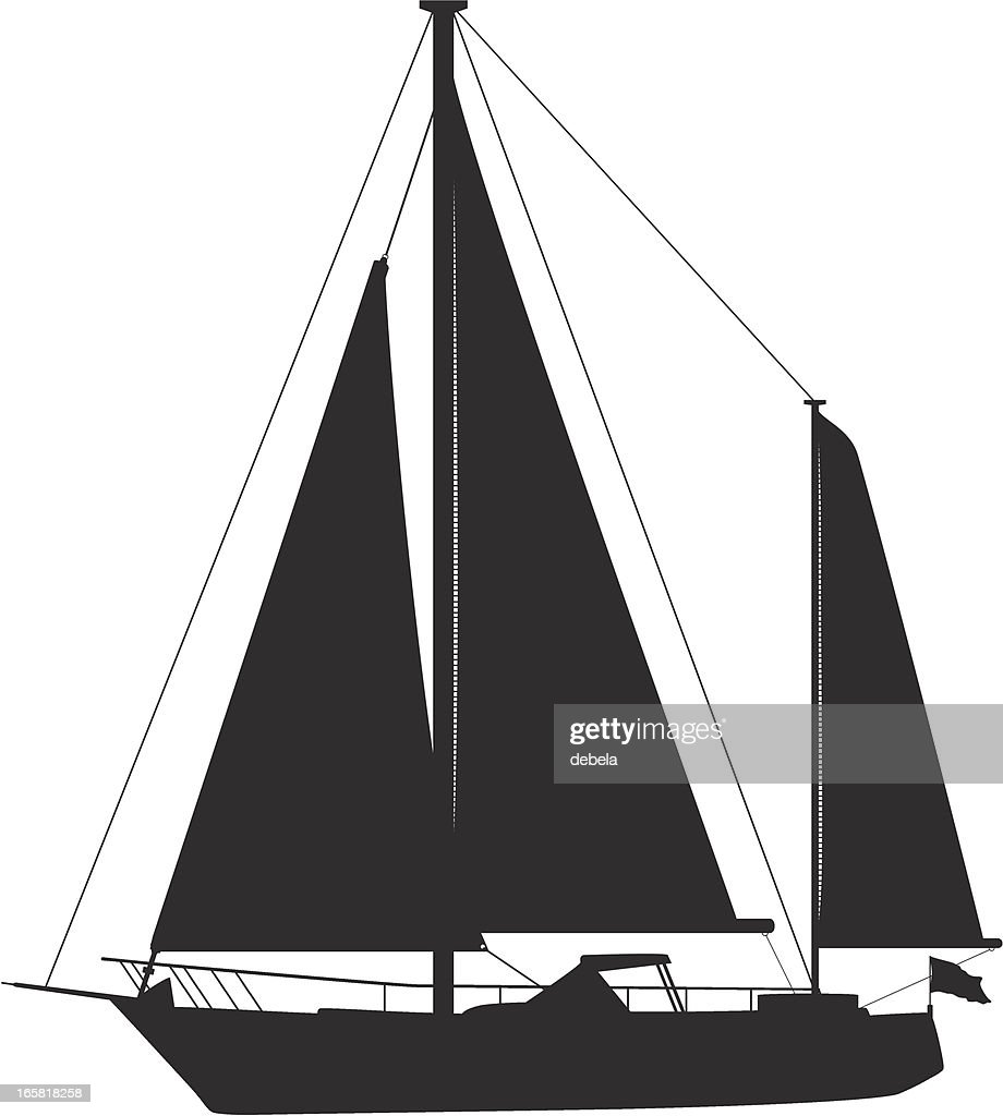 A silhouette of a sailboat on a white background