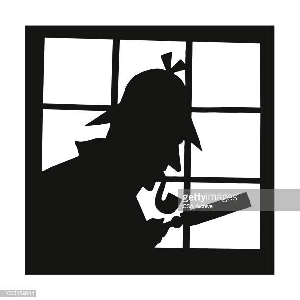 silhouette of a sleuth - detective stock illustrations
