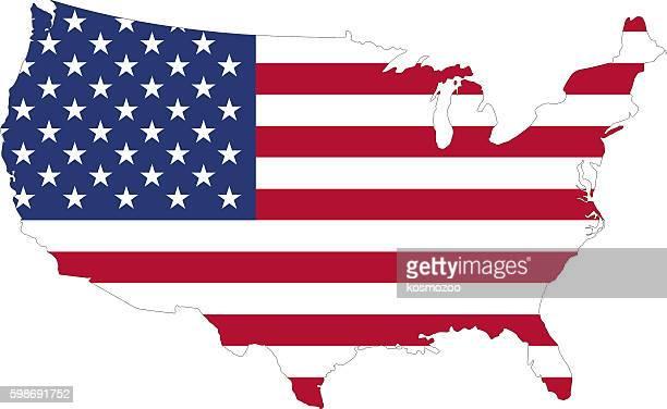 silhouette of a u.s. flag on the map - amerikanische kontinente und regionen stock-grafiken, -clipart, -cartoons und -symbole