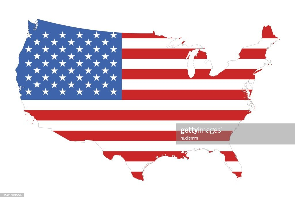Silhouette of a U.S. flag on the map