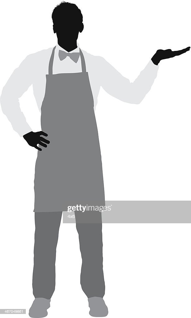 Silhouette of a waiter gesturing