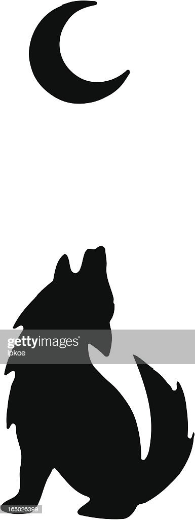 A silhouette of a wolf howling at the moon
