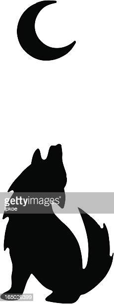 a silhouette of a wolf howling at the moon - howling stock illustrations, clip art, cartoons, & icons