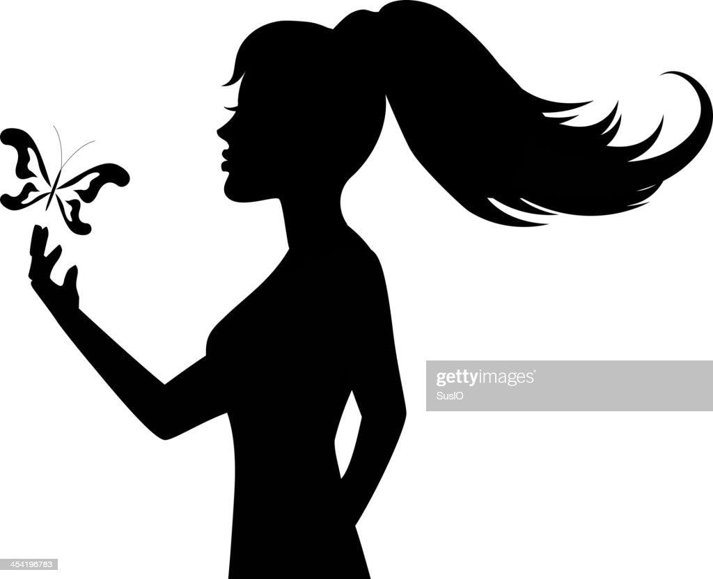 Silhueta de uma mulher e Borboleta : Arte vetorial