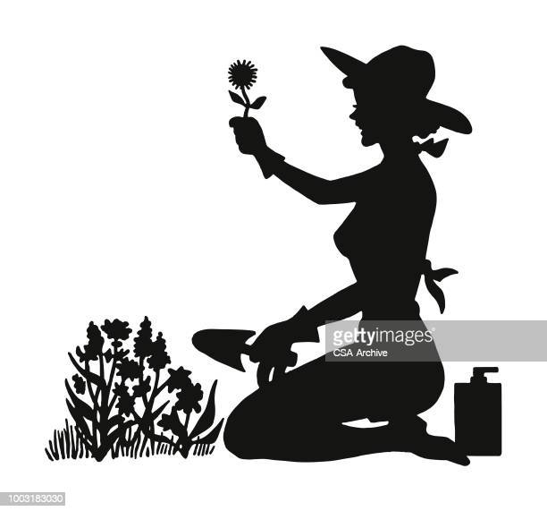 silhouette of a woman gardening - landscaper stock illustrations, clip art, cartoons, & icons