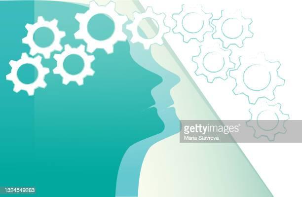 stockillustraties, clipart, cartoons en iconen met silhouette of a woman head. education concept. - head coach