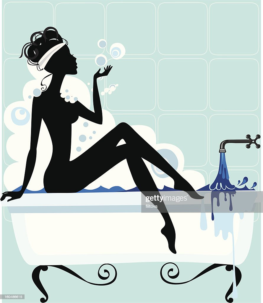 silhouette of a woman in bathtub