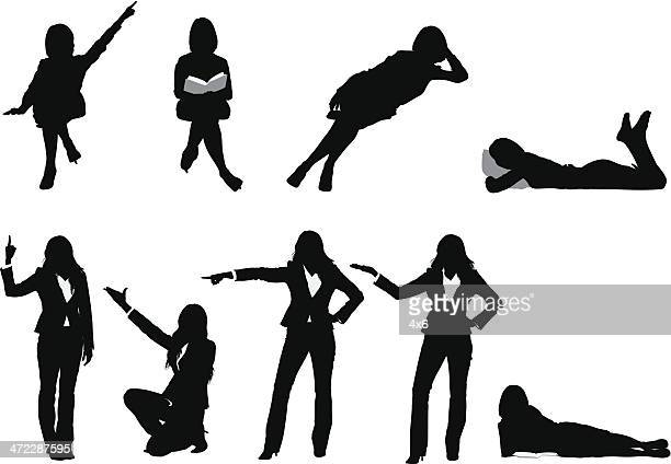 silhouette of a woman in different poses - lying on front stock illustrations, clip art, cartoons, & icons