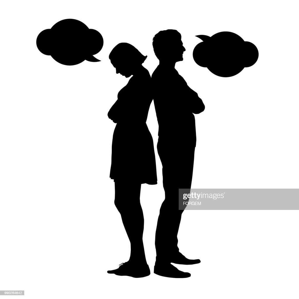 Silhouette of a young couple in a dispute - vektor