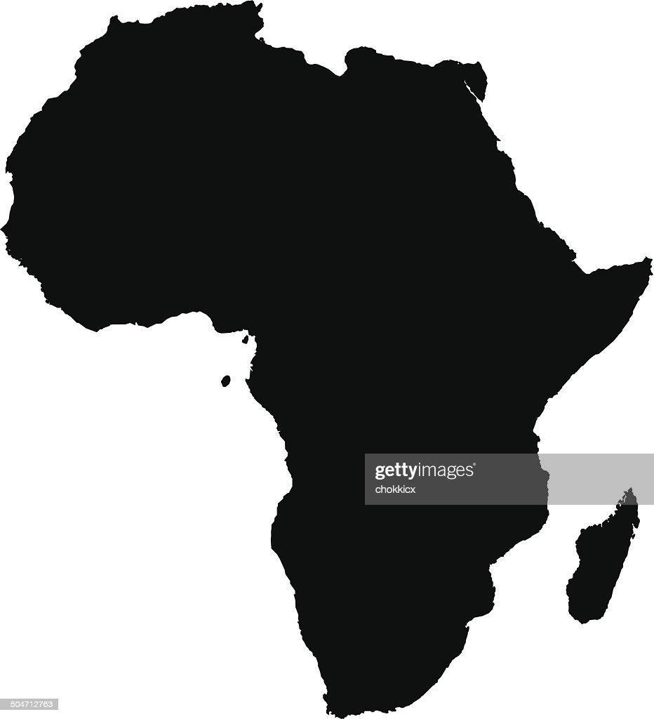 Carte De Lafrique Noir Et Blanc.Silhouette De Carte De Lafrique En Noir Et Blanc