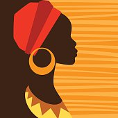 Silhouette of african girl in profile with earrings.