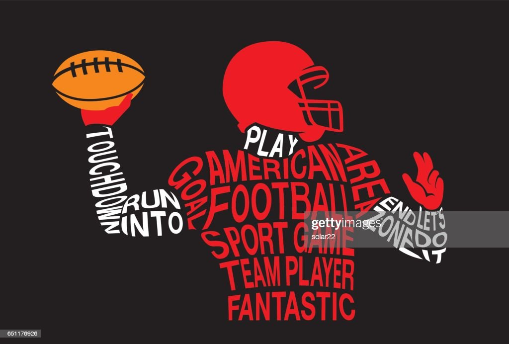 Silhouette of American football athlete ready to throw a ball.