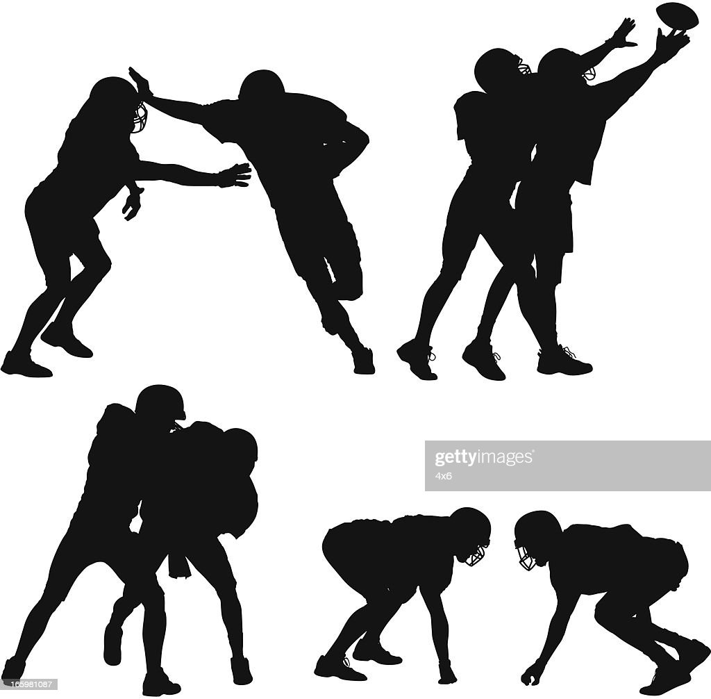 Silhouette of American football players in action