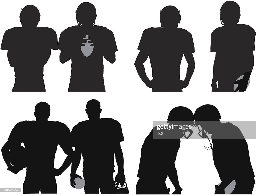 silhouette of american football players vector art