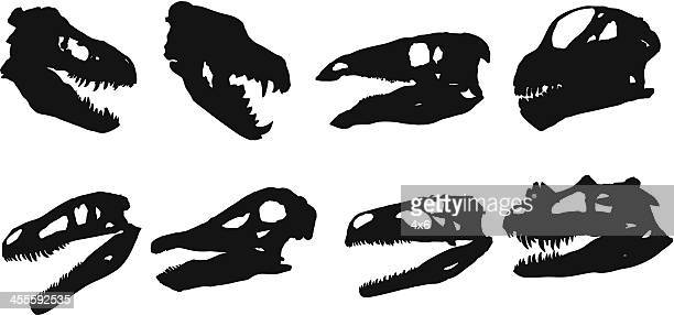 silhouette of animal skulls - animal skeleton stock illustrations, clip art, cartoons, & icons