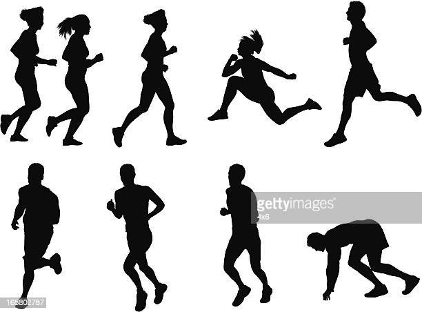 Silhouette of athletes