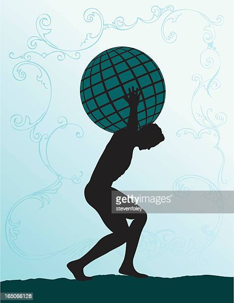 silhouette of atlas carry the world on his back - piggyback stock illustrations, clip art, cartoons, & icons