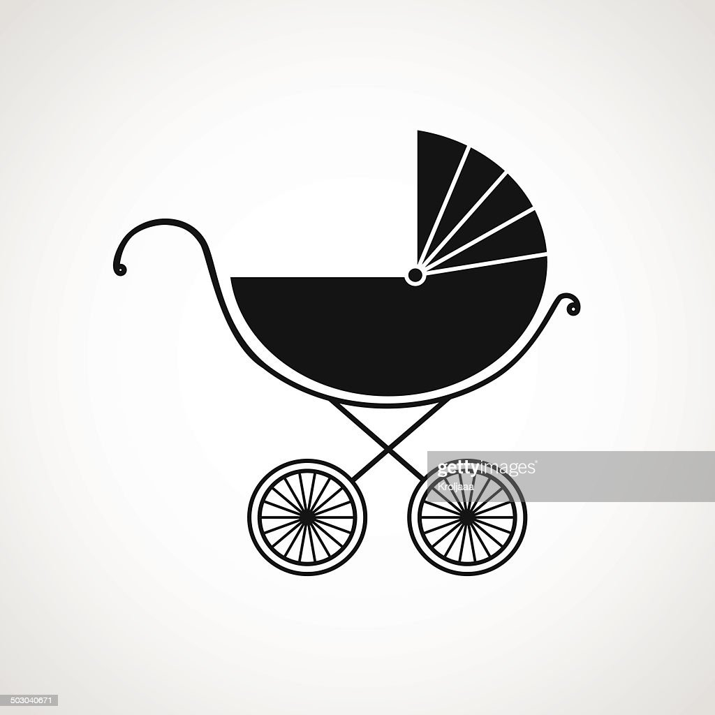 Silhouette of baby pram. Vector illustration. Beautiful background.