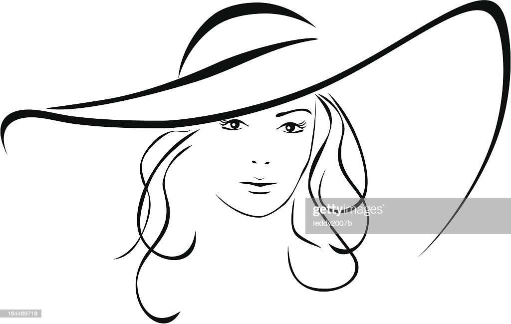 Silhouette of beautiful woman in a elegant hat