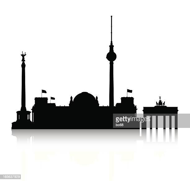 silhouette of berlin - brandenburg gate stock illustrations, clip art, cartoons, & icons