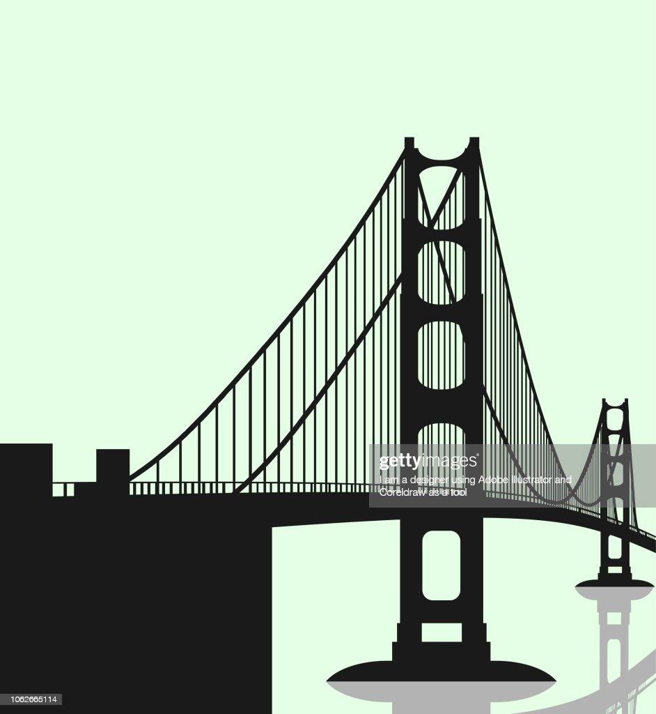 silhouette of bridge illustrstion