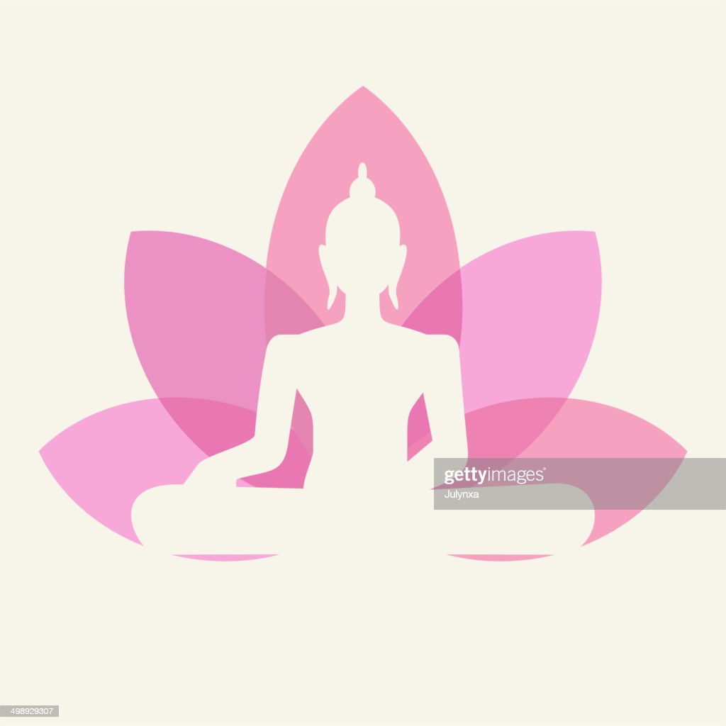Silhouette of Buddha with a lotus flower
