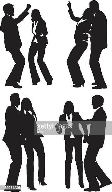 ilustraciones, imágenes clip art, dibujos animados e iconos de stock de silueta de pareja de baile - pareja bailando cuerpo entero