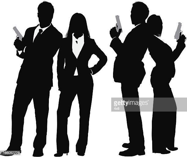 silhouette der business-paar mit einer waffe - full suit stock-grafiken, -clipart, -cartoons und -symbole