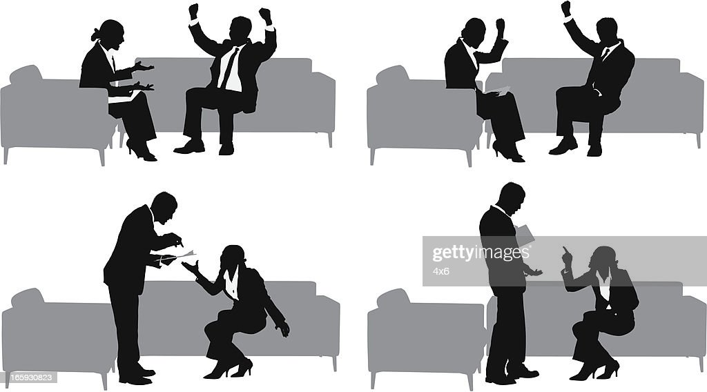 Silhouette of business couples in meeting : stock illustration
