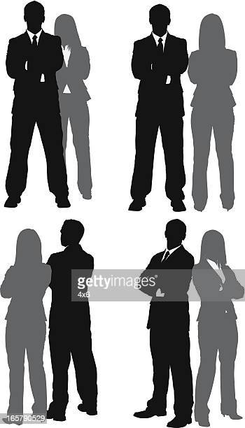 silhouette of business couples - back to back stock illustrations, clip art, cartoons, & icons