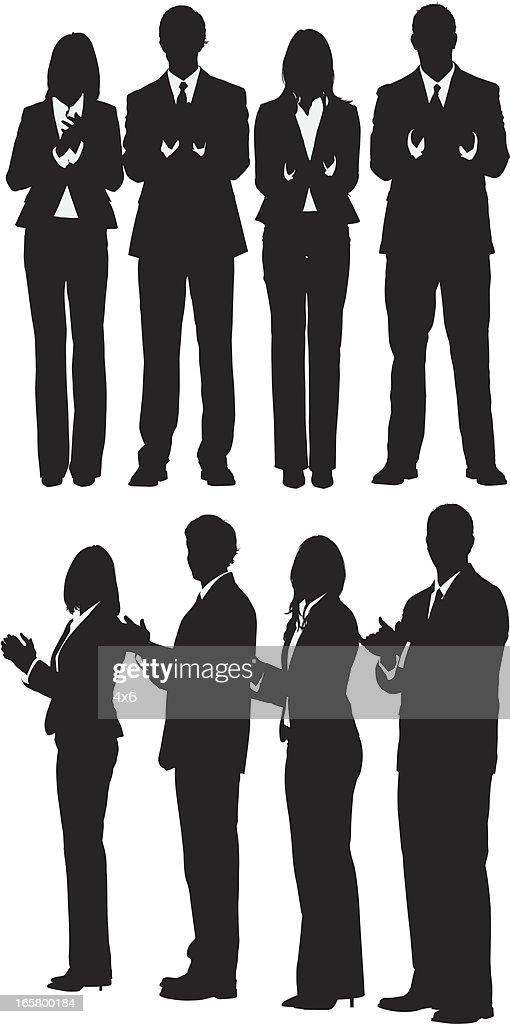 Silhouette of business executives clapping : stock illustration