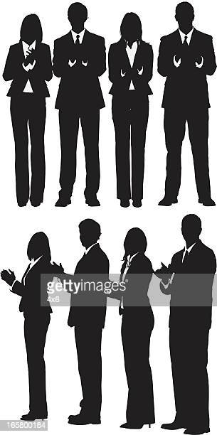 silhouette of business executives clapping - applauding stock illustrations, clip art, cartoons, & icons