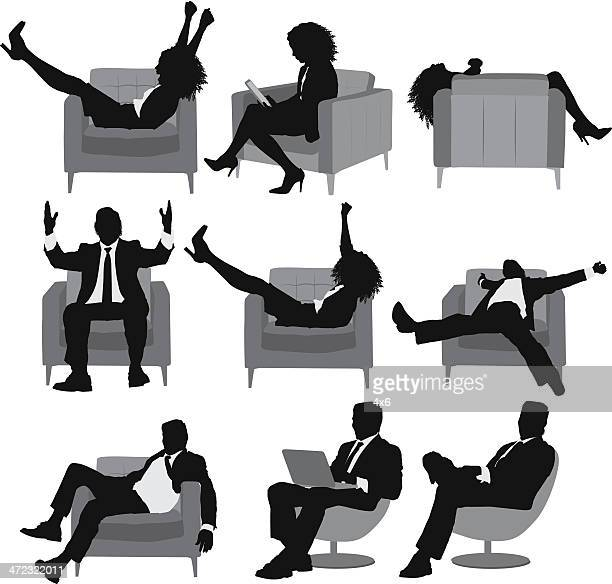 Silhouette of business executives in different poses