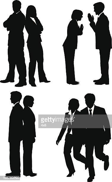 silhouette of business executives - back to back stock illustrations, clip art, cartoons, & icons