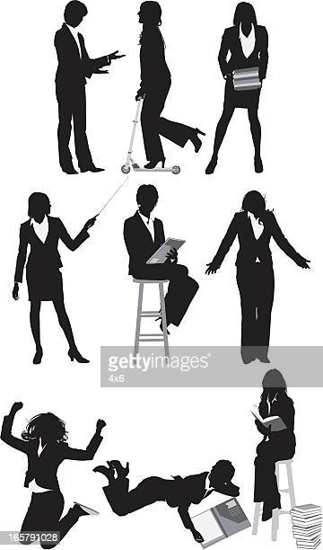 silhouette of business executives - stool stock illustrations, clip art, cartoons, & icons