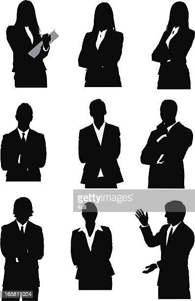 stockillustraties, clipart, cartoons en iconen met silhouette of business executives - bovenlichaam