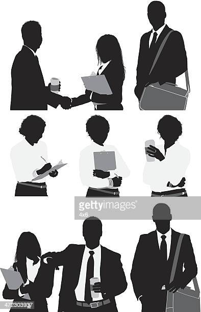 silhouette of business executives - waist up stock illustrations