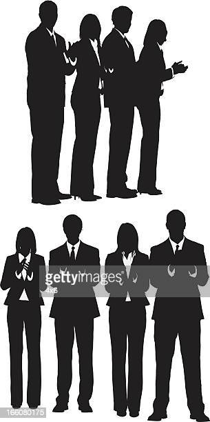 silhouette of business people clapping - applauding stock illustrations, clip art, cartoons, & icons