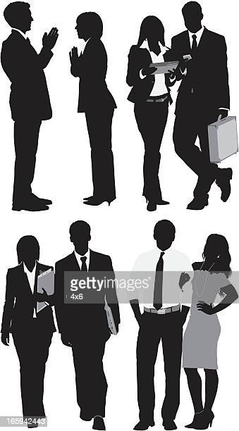 silhouette of business people in different poses - arm in arm stock illustrations, clip art, cartoons, & icons