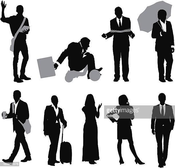 Silhouette der business-Menschen in verschiedenen Posen