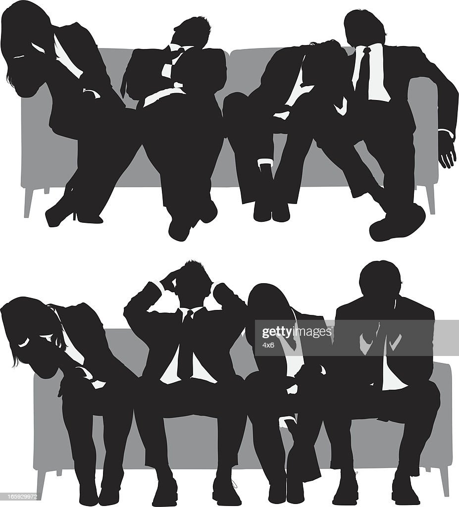 Silhouette of business people resting on couch : stock illustration