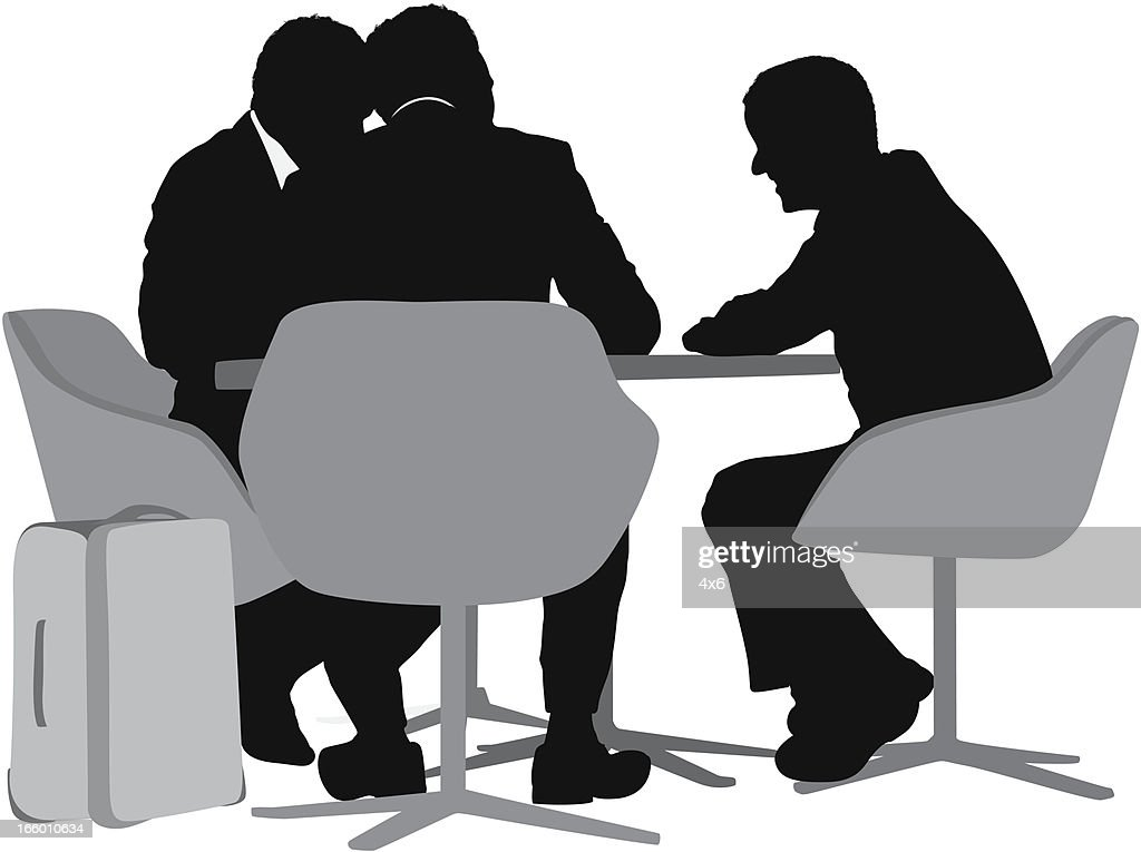 Silhouette of business people sitting