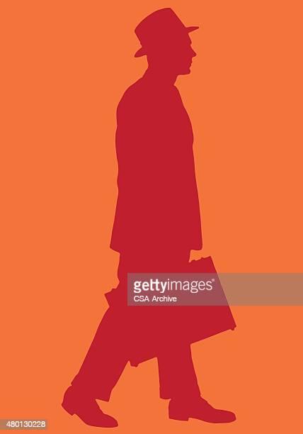 silhouette of businessman - fedora stock illustrations