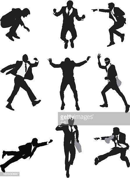 Silhouette of businessmen in action