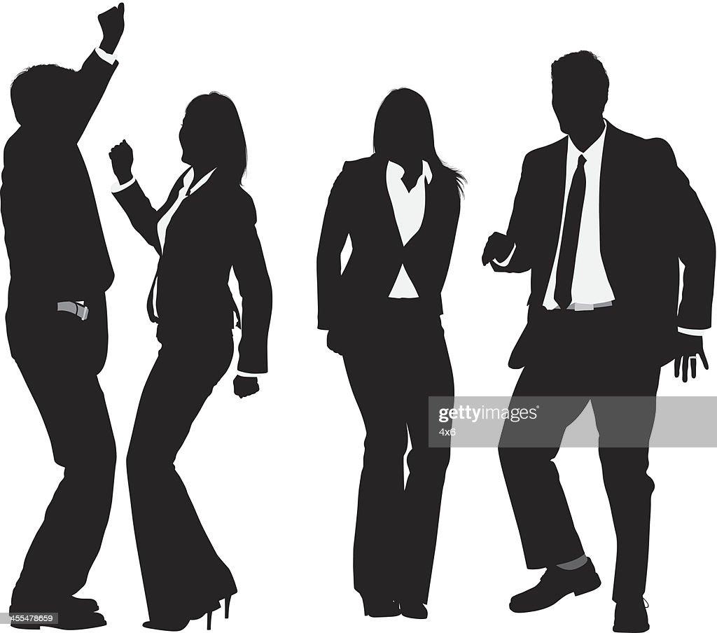 Silueta de los empresarios baile : Ilustración de stock